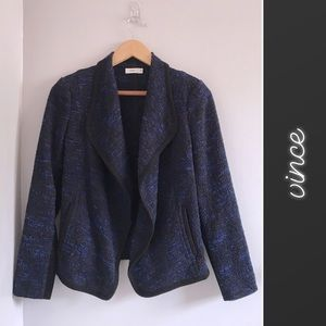 Vince Blue Black Draped Boucle Jacket